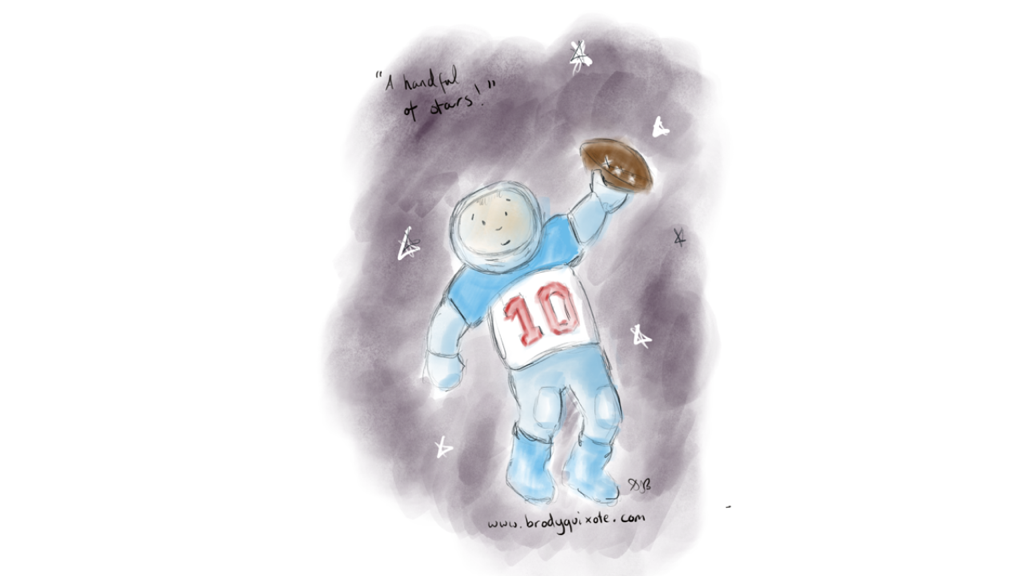 A sketch by brodyquixote of a spaceman playing american football.