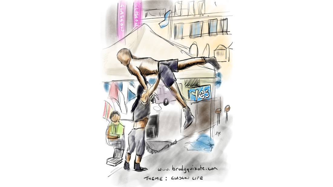 A thumbnail sketch by brodyquixote of gymnasts warming up in George Square Glasgow