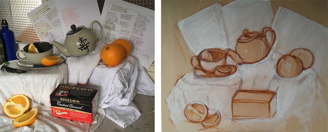 Photo and underpainting of brodyquixote's 'Mystery Still Life Puzzle'
