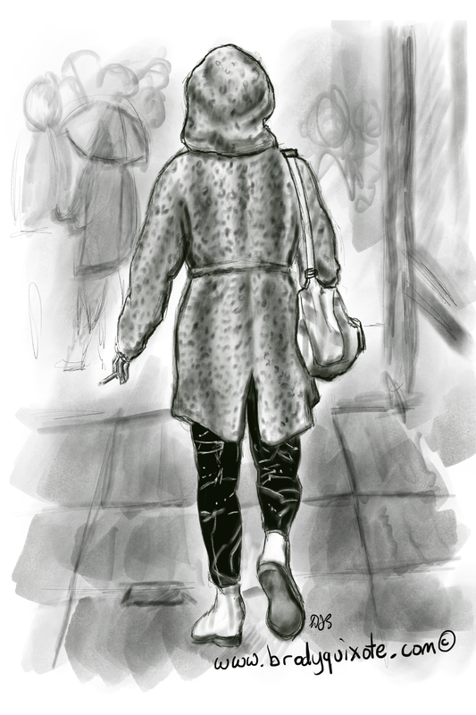 An illustration of a mysterious leopard woman in Glasgow, by brodyquixote.