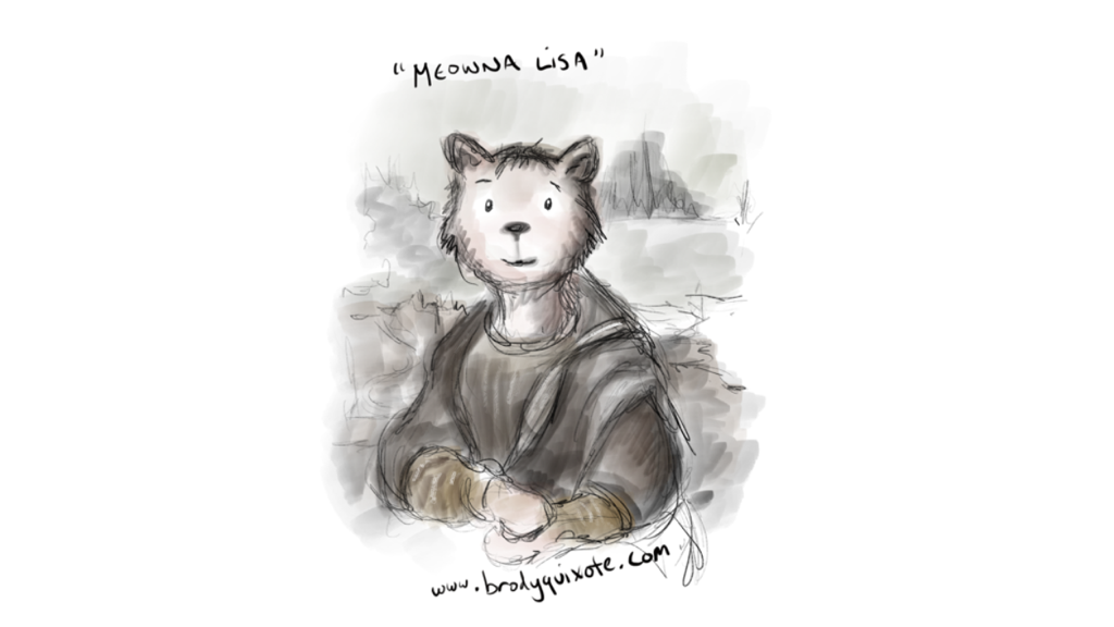An illustration of the Meowna Lisa by brodyquixote