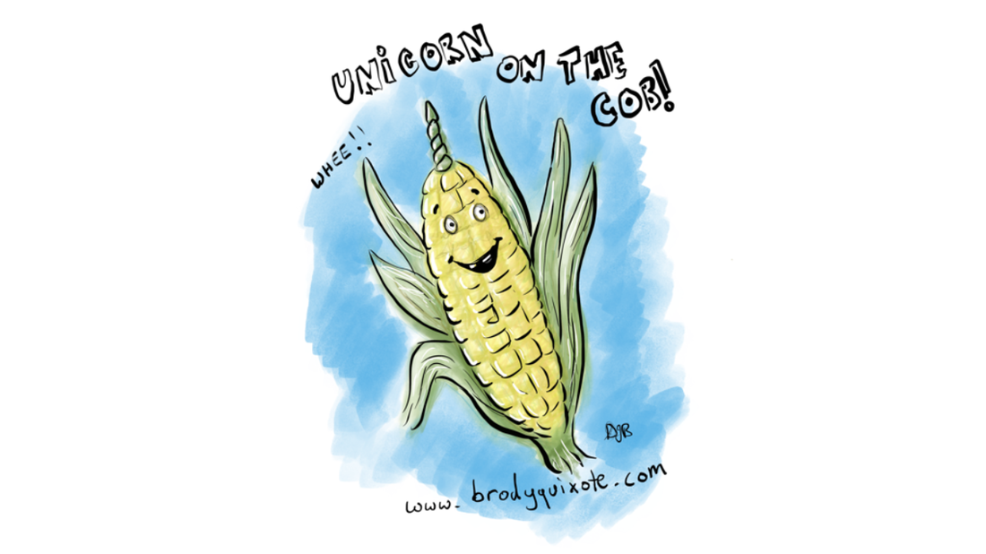 An illustration of a corn on the cob joke by brodyquixote