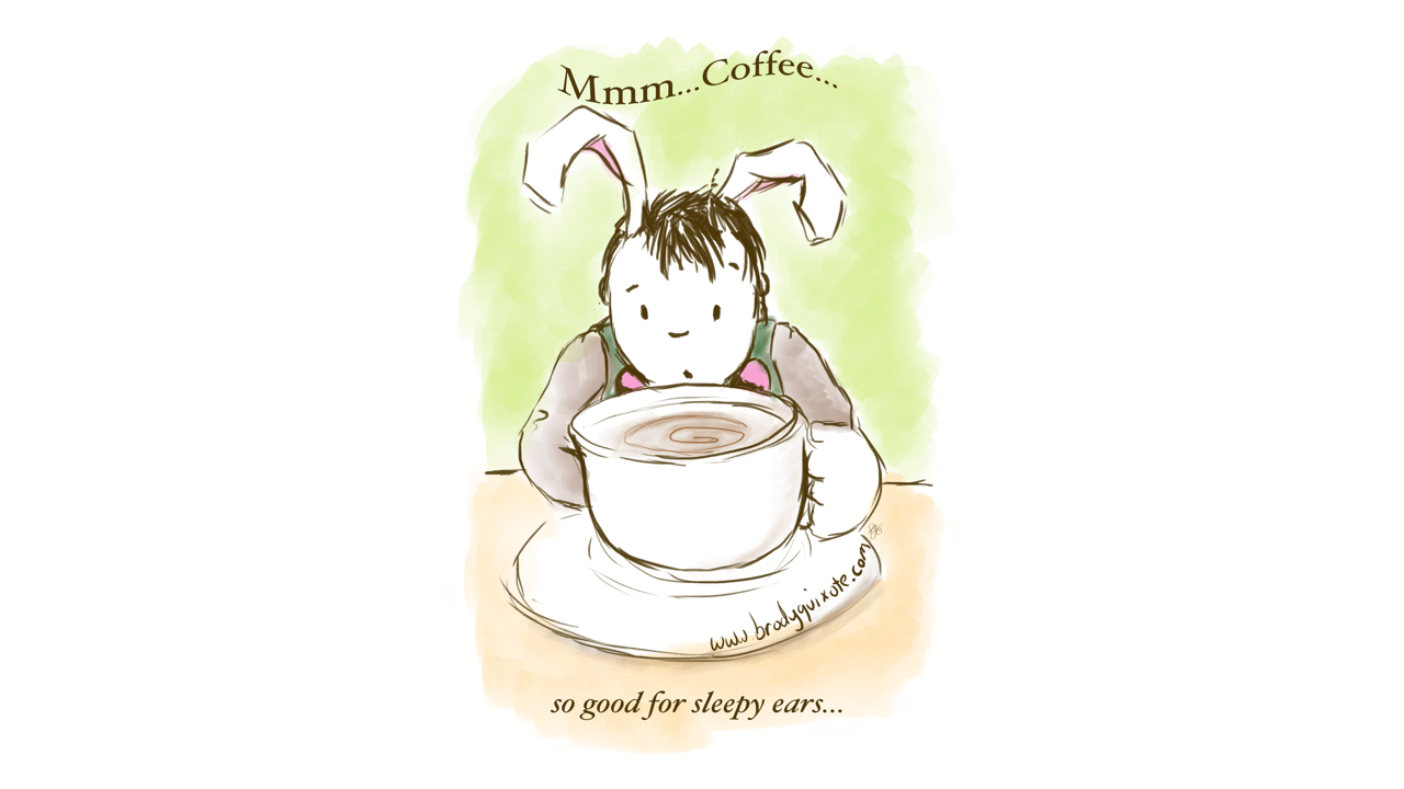 An illustration by brodyquixote of a sleepy rabbit blowing on his coffee to cool it down!