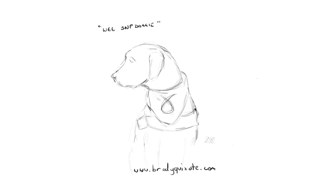 An illustration by brodyquixote of a  cute little dog wearing an SNP bandana.
