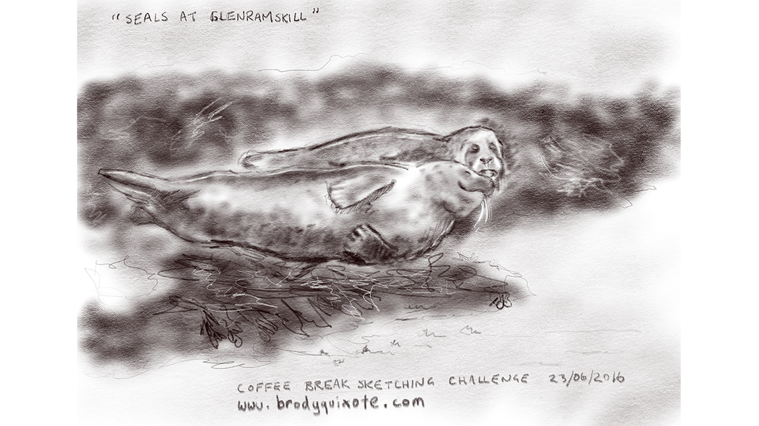 An illustration of seals sunning themselves at Glenramskill, Campbeltown, by brodyquixote