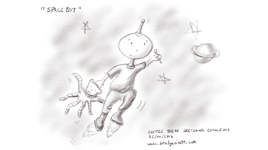 An illustration of a space by and his teddy bear, zooming off to school, drawn by brodyquixote.