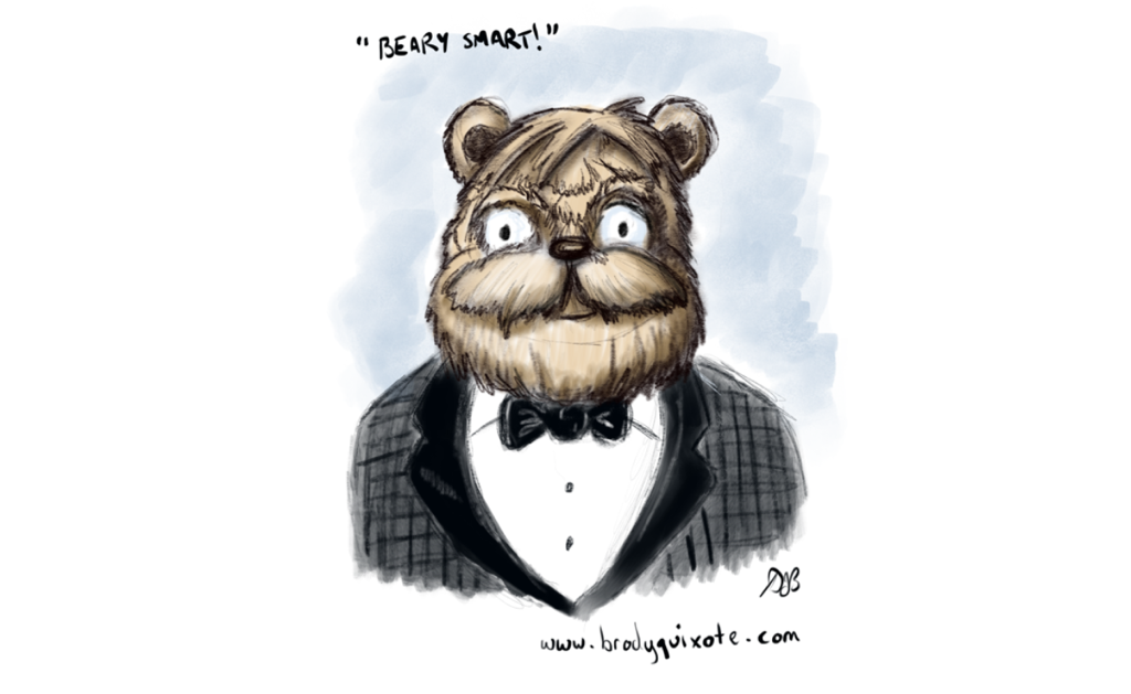 An illustration of a smartly attired bear in his tuxedo.