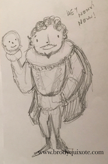 A rough sketch by brodyquixote of a smiling little shakespearean actor