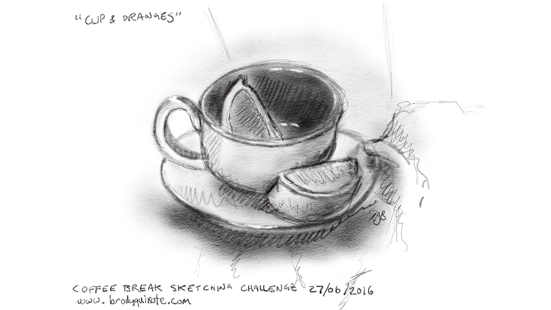 An illustration of a cup with orange segments by brodyquixote