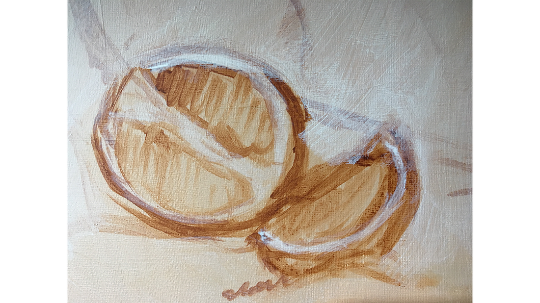 underpainting rough sketch of orange from still life by brodyquixote