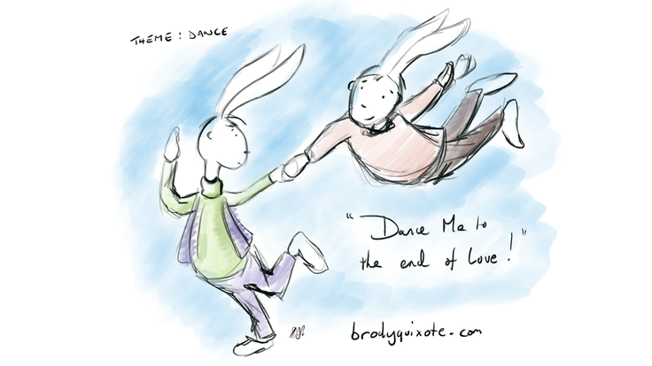 An illustration by brodyquixote of 2 rabbits dancing.