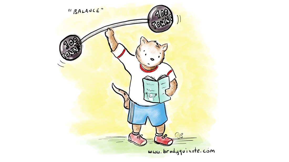 An illustration by brodyquixote of a cat exercising with weights and reading a book.