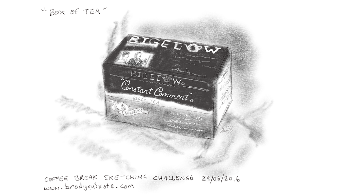 An illustration of a box of Bogelow Constant Comment Tea by brodyquixote