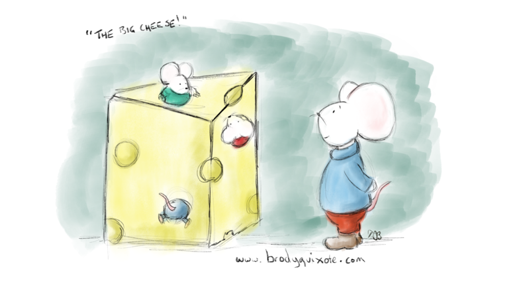 An illustration of happy mice playing in a block of cheese by brodyquixote.