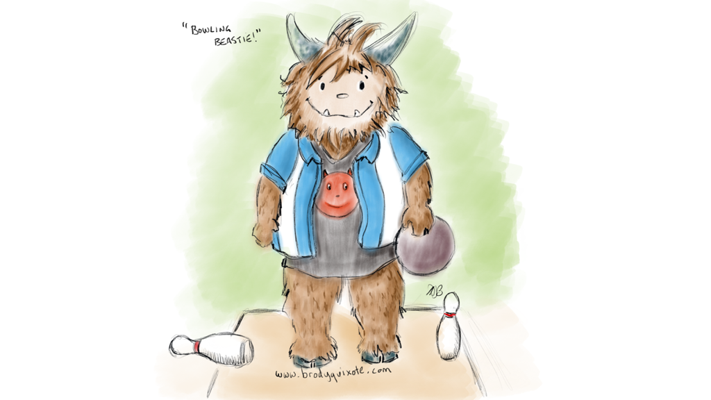 An illustration of a wee ten pin bowling beastie by brodyquixote