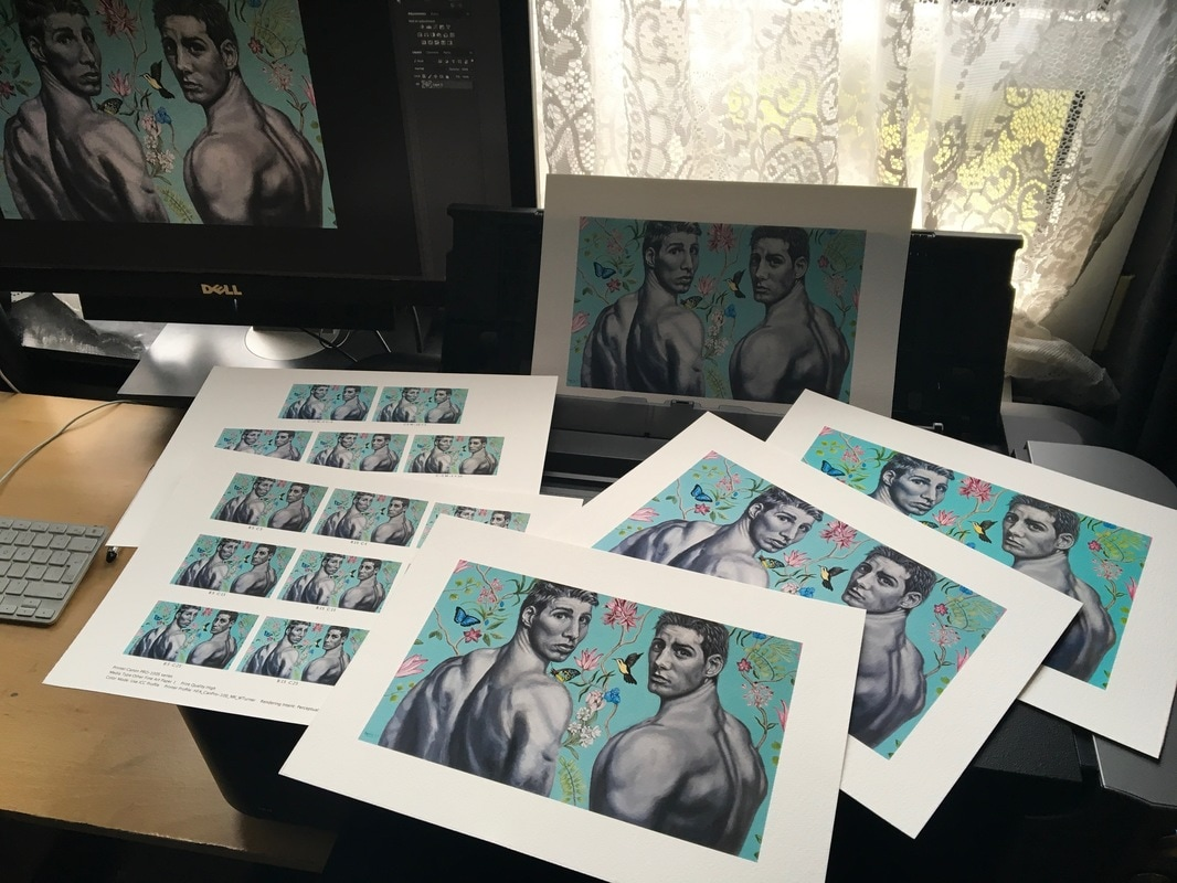 A photograph of giclee print proofs of David Brodie's painting