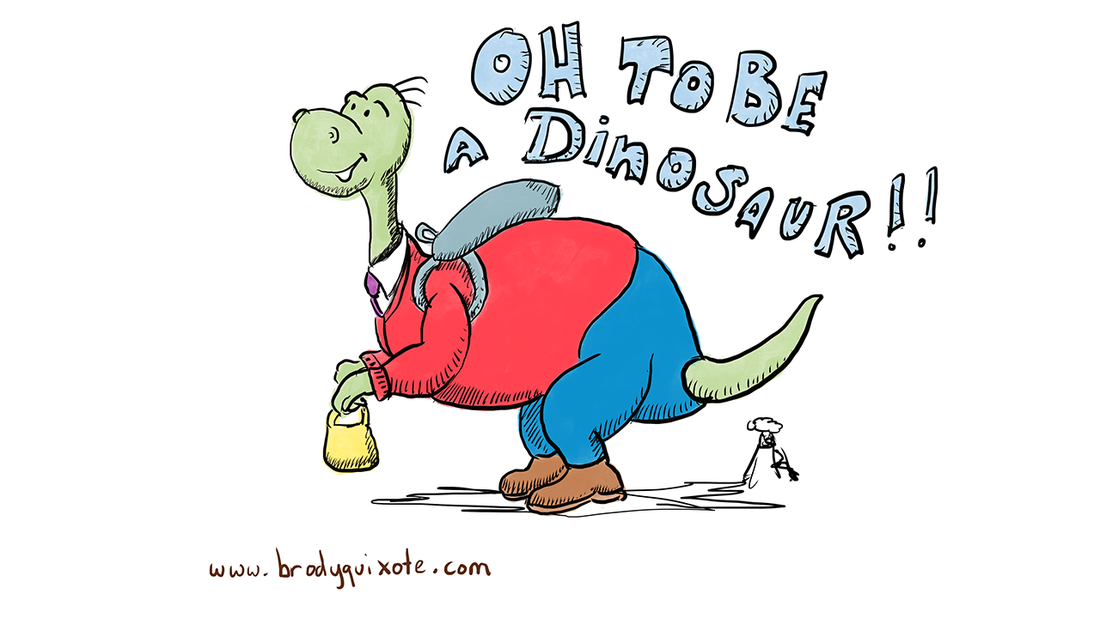 An illustration of a dinosaur by brodyquixote in the style of Dr Seuss