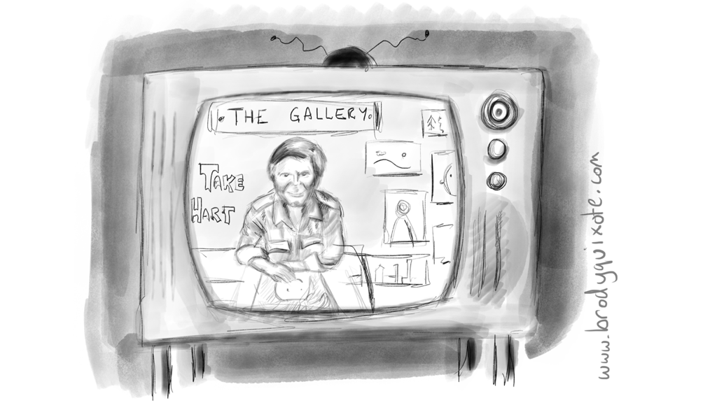 An illustration of Tony Hart's tv gallery from 1979 by brodyquixote