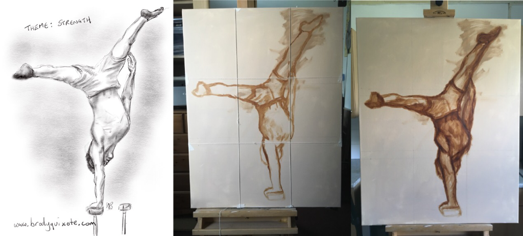 Progress triptych of brodyquixote's gymnast painting.