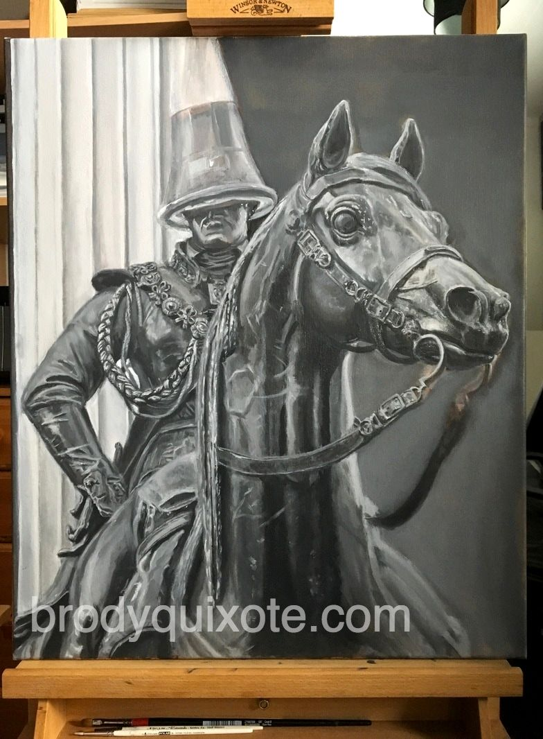 photograph of brodyquixote's oil painting of the Duke Of Wellington Equestrian Statue, Glagow