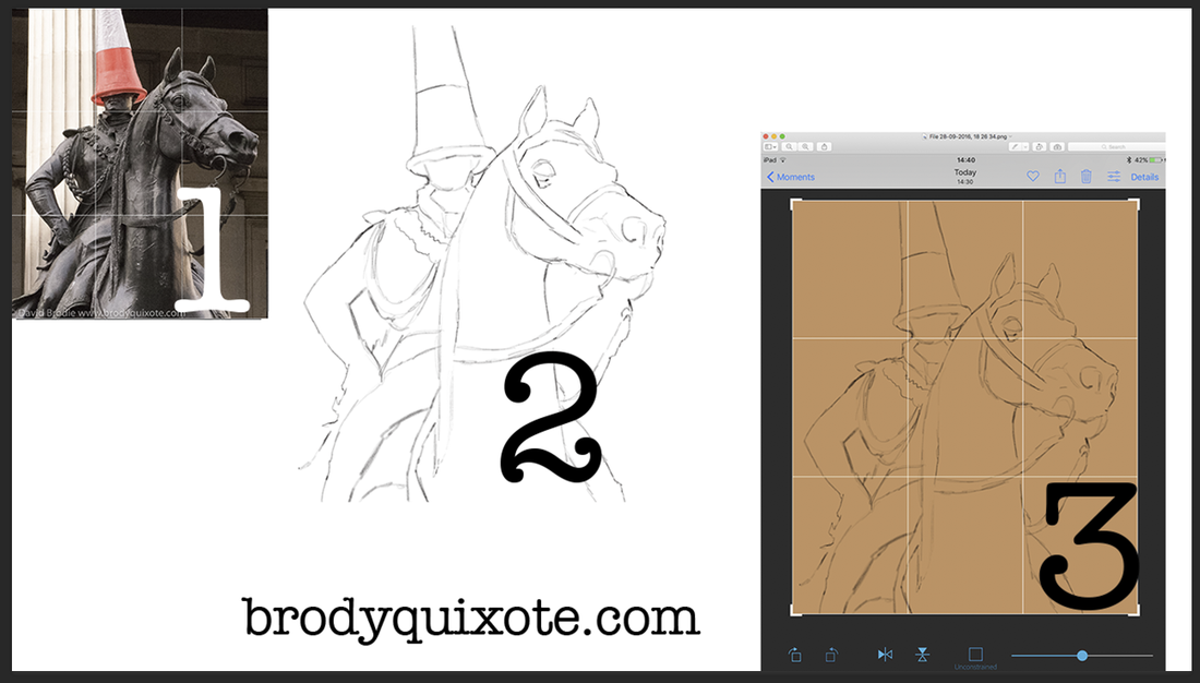 image of the workflow to trace a sketch for resizing onto canvas, by brodyquixote.