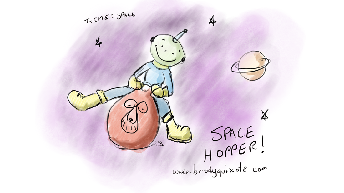 An illustration of a wee alien riding through the galaxy on a space hopper.