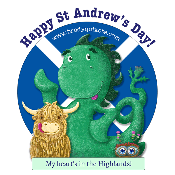 A picture of Nessie, hamigh the highland cow, and hoots toots haggis wishing everyone a Happy St Andrew's Day